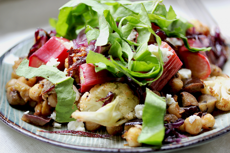 Chickpea-Cauliflower Salad with Sorrel & Rhubarb // From Hand To Mouth