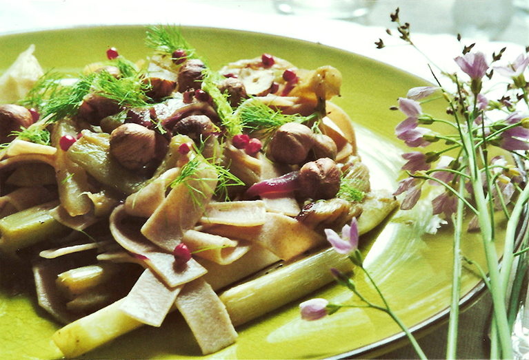 Spelt Fettuccine with roasted kohlrabi & hazelnuts // From Hand To Mouth