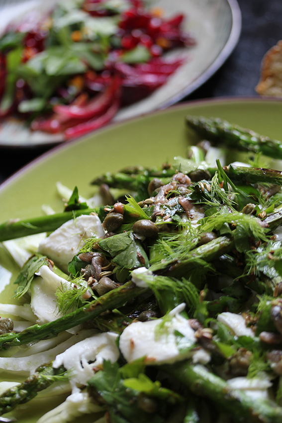 Roasted Onions with Pomegranate & grilled Asparagus // From Hand To Mouth