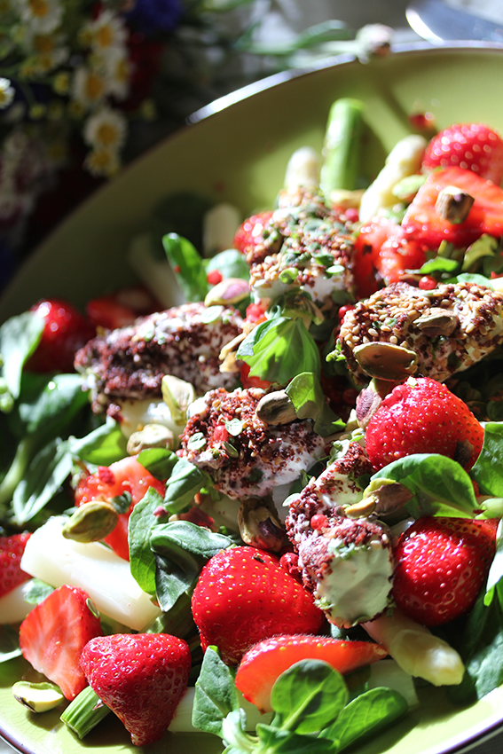 Strawberry-Asparagus Salad with Goat's Cheese Za'tar 'Gnocchi' // From Hand To Mouth