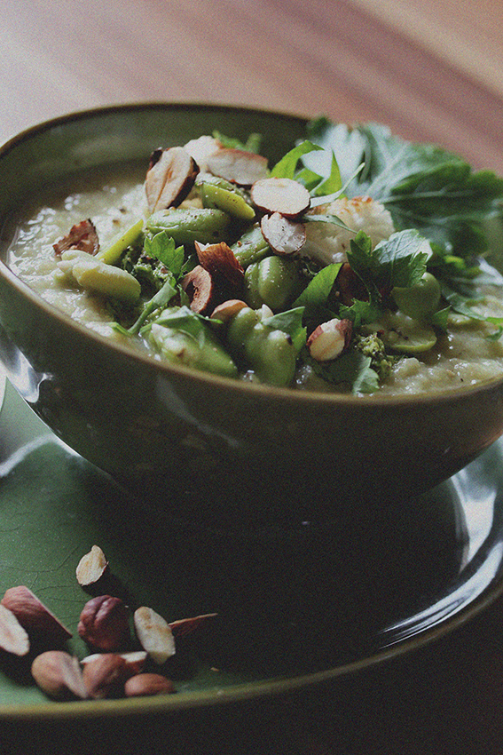 Cauliflower Soup with Broad Beans // From Hand To Mouth