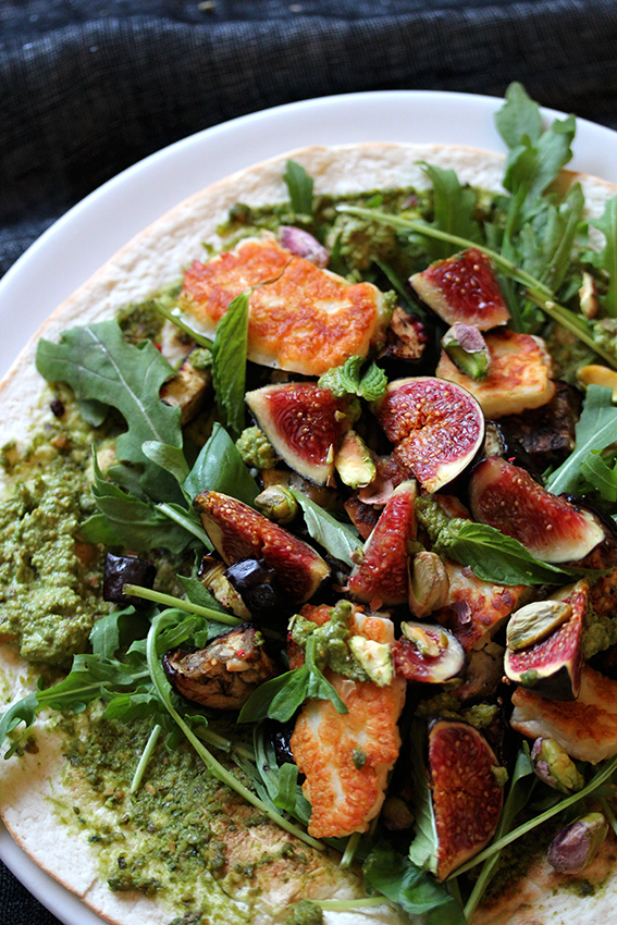Haloumi Fig Wraps with Pistachio Pesto // From Hand To Mouth