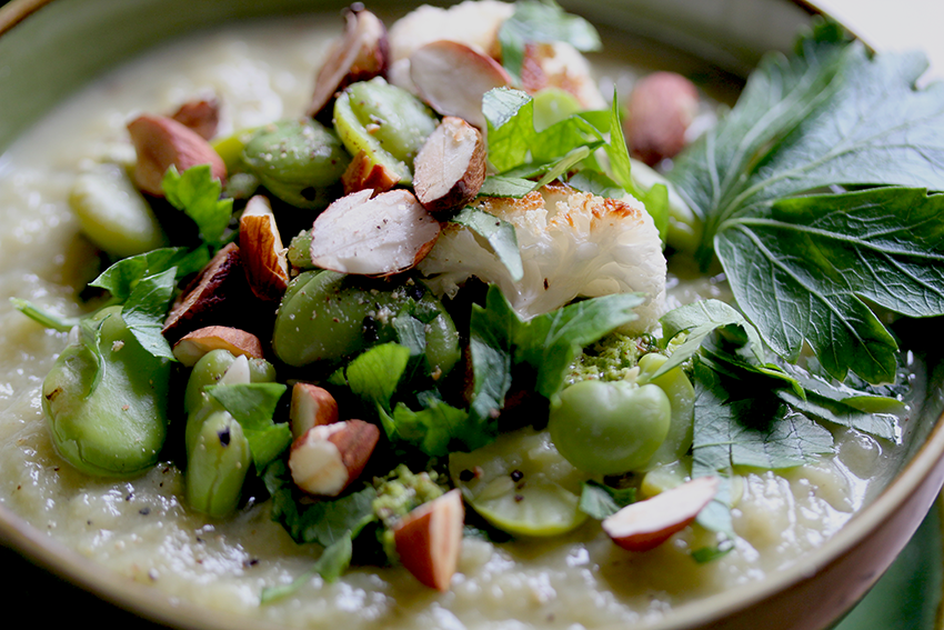 cauliflower soup with broad beans and almond-parsley pesto