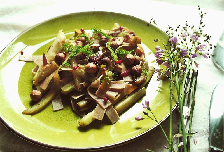 Tagliatelle with kohlrabi & rhubarb
