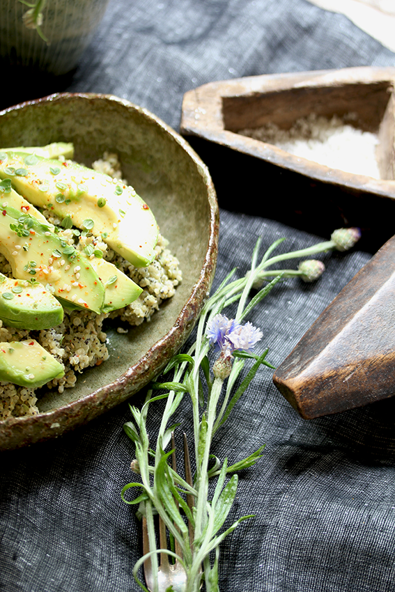 Avocado on poppy-sesame-quinoa