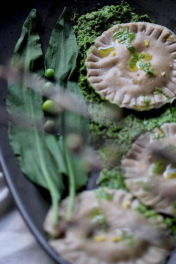 Buckwheat Ravioli with Ramps & Gorgonzola // From Hand To Mouth