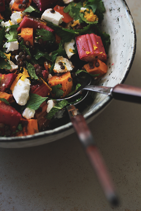 Rhubarb-Lenil Salad with Sweet Potato // From Hand To Mouth