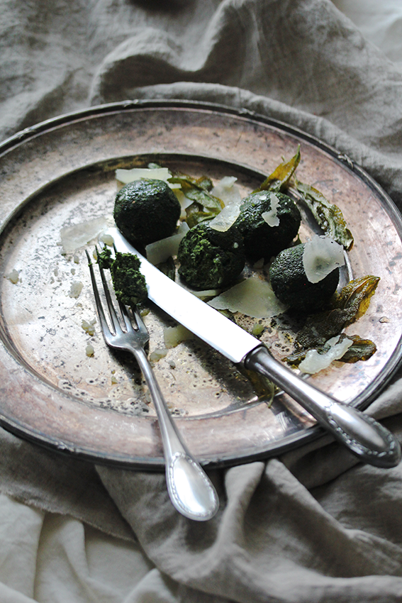 Pecorino spinach balls with sage butter