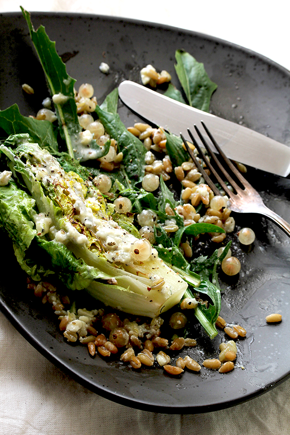 Grilled Romaine with Roquefort dressing & white currants // From Hand To Mouth