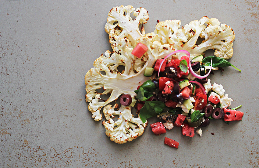 cauliflower steaks and watermelon salsa