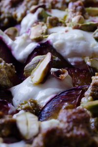 Plum & pistachio crumble with labneh // From Hand To Mouth